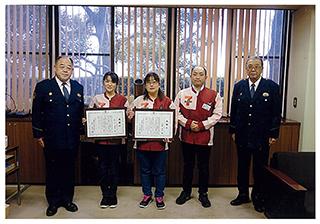 警察署での感謝状贈呈の様子